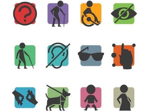 A selection of accessibility symbols: from elderly, braille, wheelchair users, guide dogs and sign language