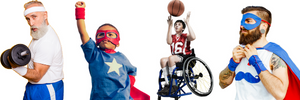 A variety of ages- people dressed in different outfits ready for their challenge. One older man with a dumbbell weight, a man in a superhero costume, a young boy playing wheelchair basketball
