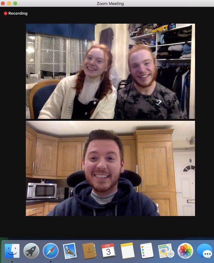 Screenshot of the zoom call between Ross, Charlie & Gina