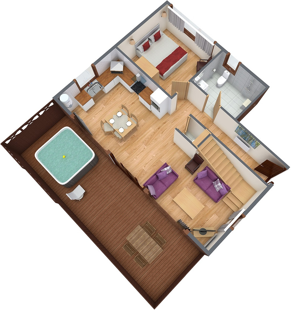 Digital floorpan of the cabin, taken from the Forest Holidays website