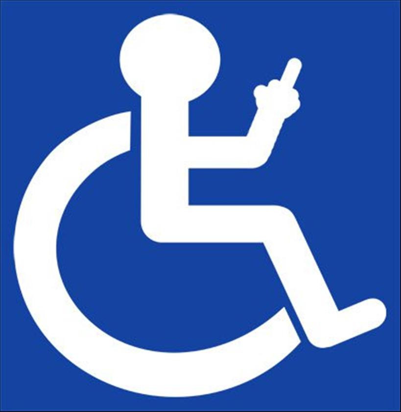 Clipart of a wheelchair user, with their middle finger up