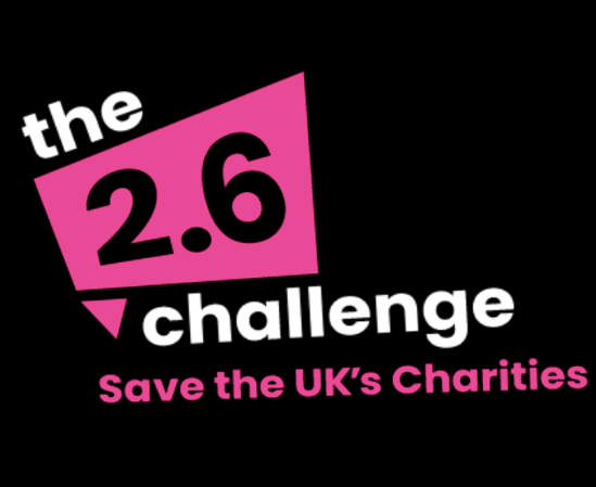 "The 2.6 challenge poster - text states: ""save the uk's charities"""