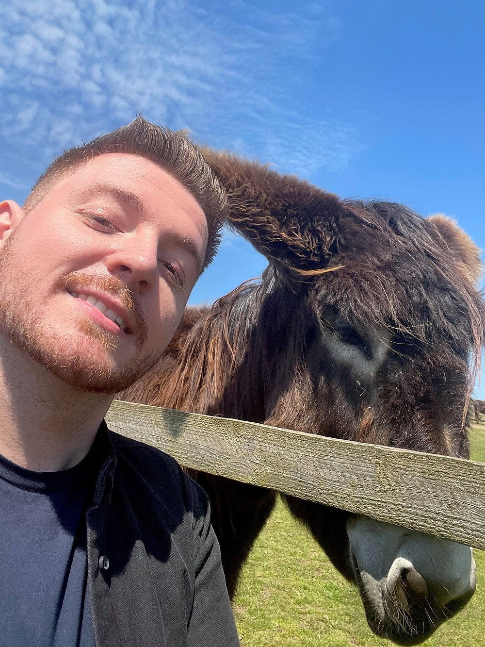 Selfie of Ross leaning his face towards a brown donkey in the field - blue skies above