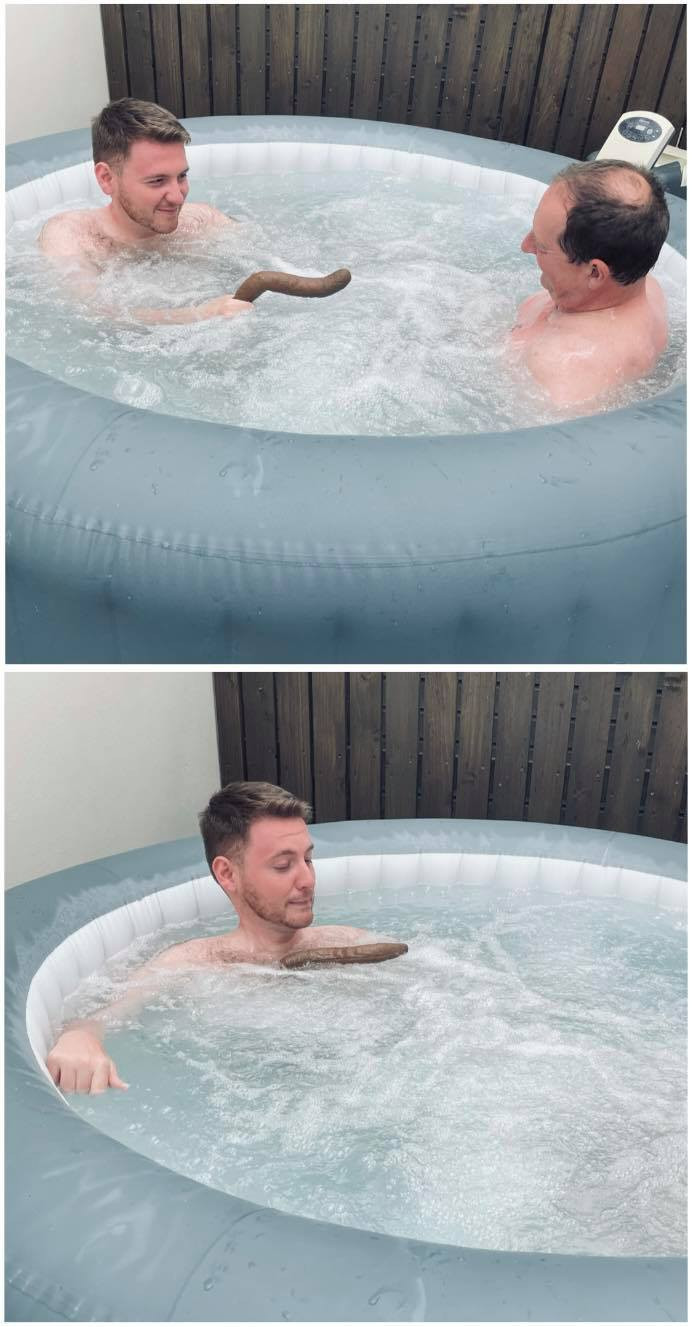 Collage of Ross and his dad in the hot tub, with a floating fake poo