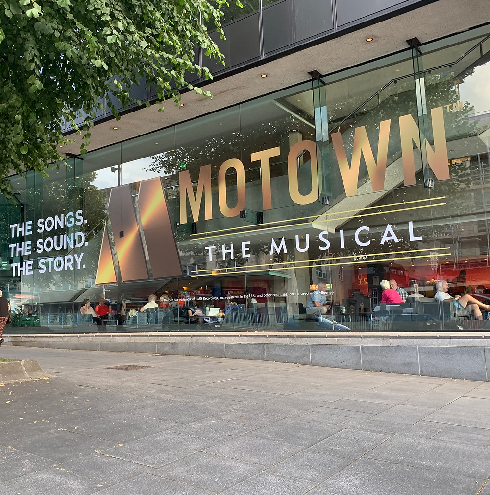 Motown The Musical large window display at the Theatre Royal