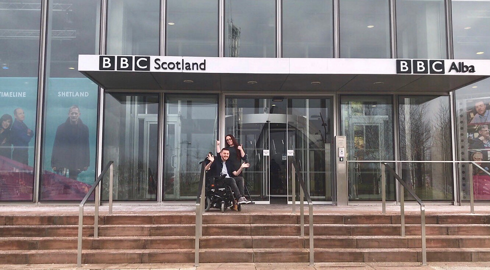 Ross & Charlotte outside the BBC Studios
