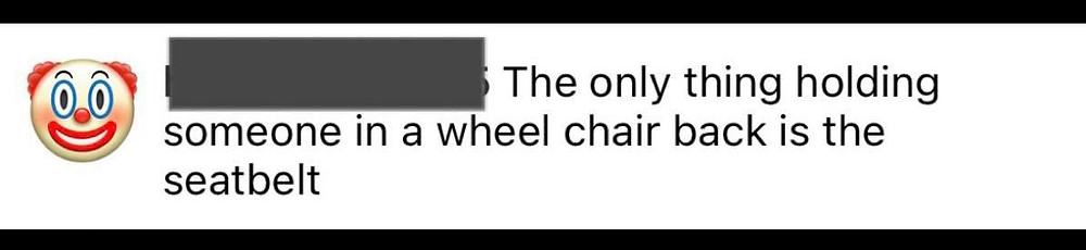 """Screenshot of the message: """"the only thing holding someone in a wheelchair back is the seatbelt"""""""