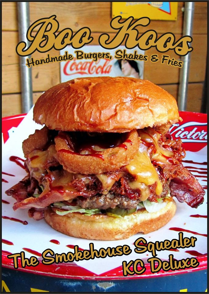 BBQ smokehouse squealer burger, official photo from the Boo Koos website