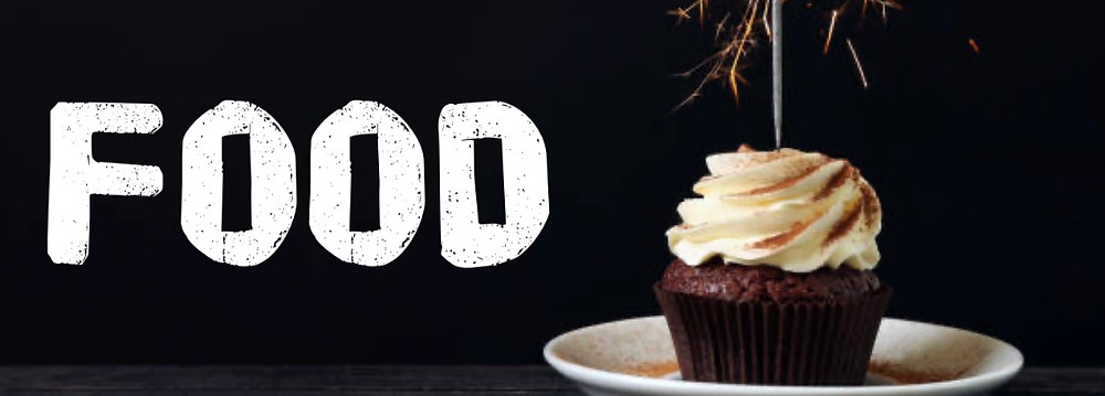 Black header labelled FOOD - beside an image of a cupcake