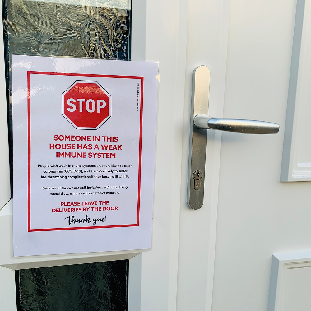 "Laminated sign on Ross's front door that says ""STOP, someone in this house has a weak immune system. Please leave deliveries by the door"""