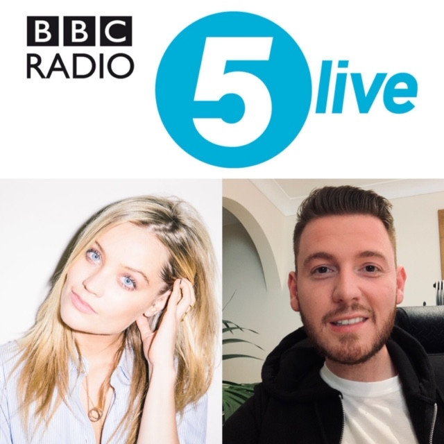 Collage of the BBC Radio 5Live logo with a picture of Ross & Laura Whitmore