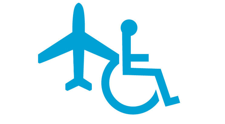 Clipart of a wheelchair and aeroplane symbol