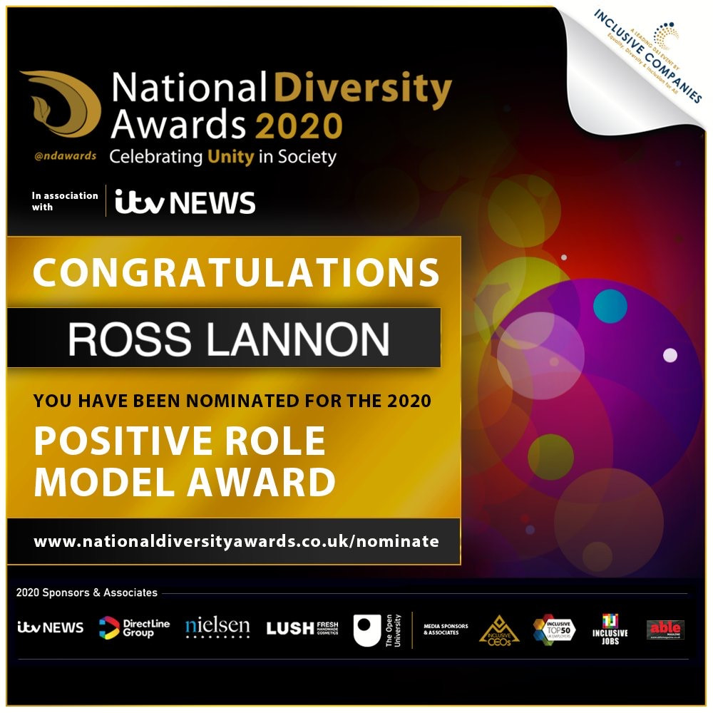 Official National Diversity Award poster showing Ross Lannon's nomination