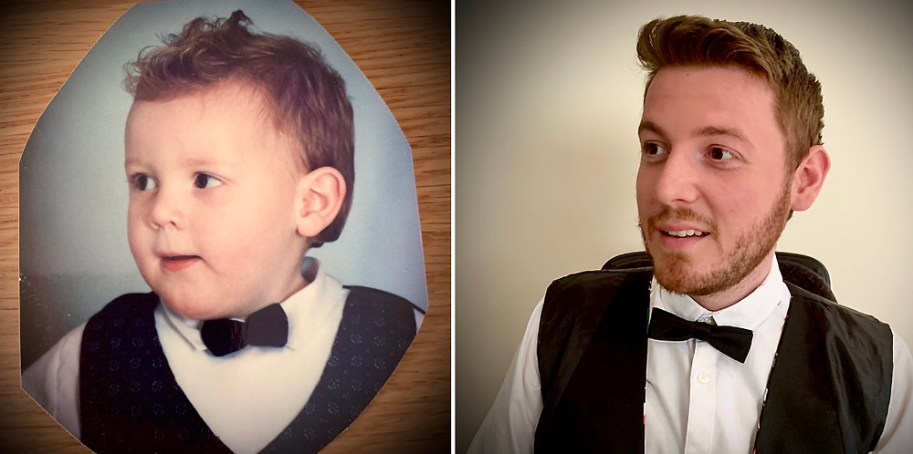 Side by side image of Ross as a child and Ross now. Wearing a smart white shirt, waistcoat and dicky bow tie