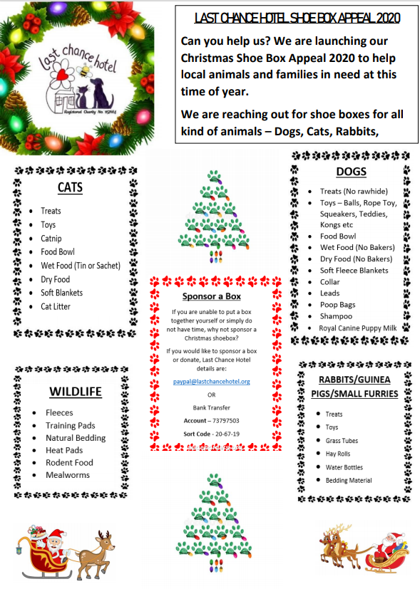 Official poster listing the type of animals you can donate to, and shoebox gift ideas