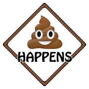 "Poo emoji with the text ""shit happens"""