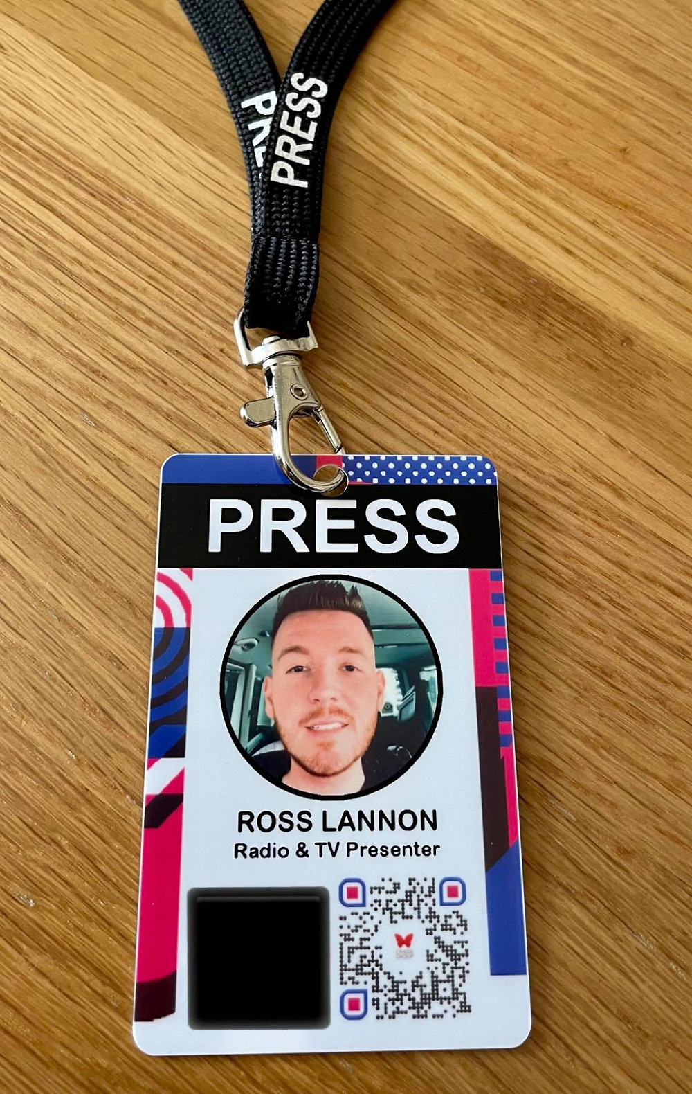 """Ross's ID badge at CHAOS with his image and the words """"TV & Radio presenter"""""""