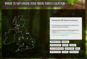 Forest Holidays map, showing all 11 locations