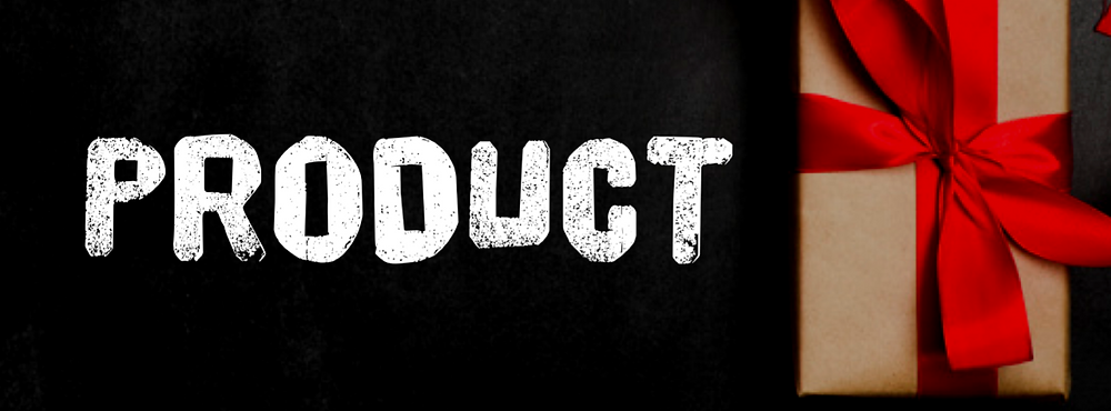 Black header labelled PRODUCT - beside an image of a wrapped gift