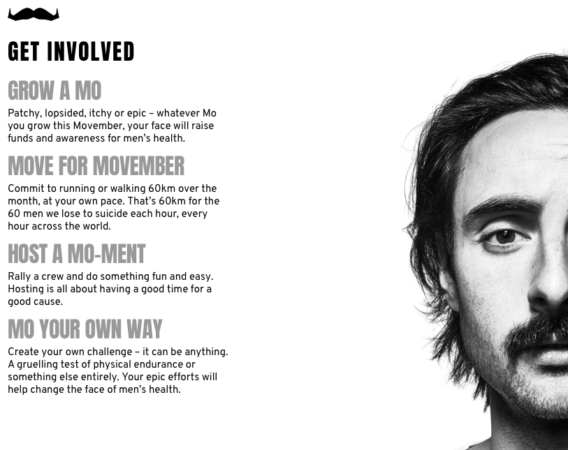 Movember poster listing ways you can get involved. From growing a moustache, to hosting a mo-ment, to committing to some movement exercise