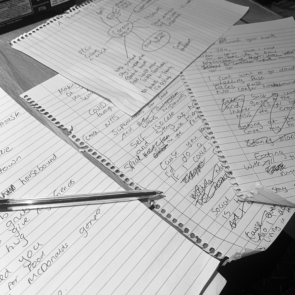 Black and white image of Ross's notepad with mind maps and lyric ideas scribbled on the page