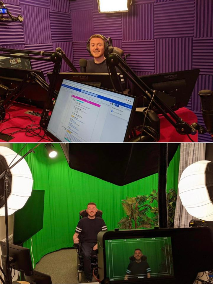 Collage of two images showing Ross at the radio studio, behind the desk and in front of a green screen