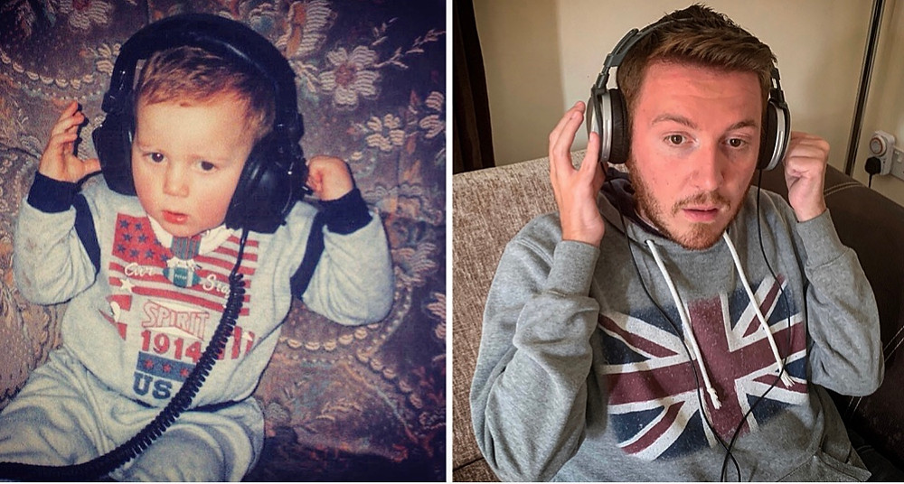 Side by side image of Ross as a child and Ross now. Sat on the sofa with a massive pair of headphones on