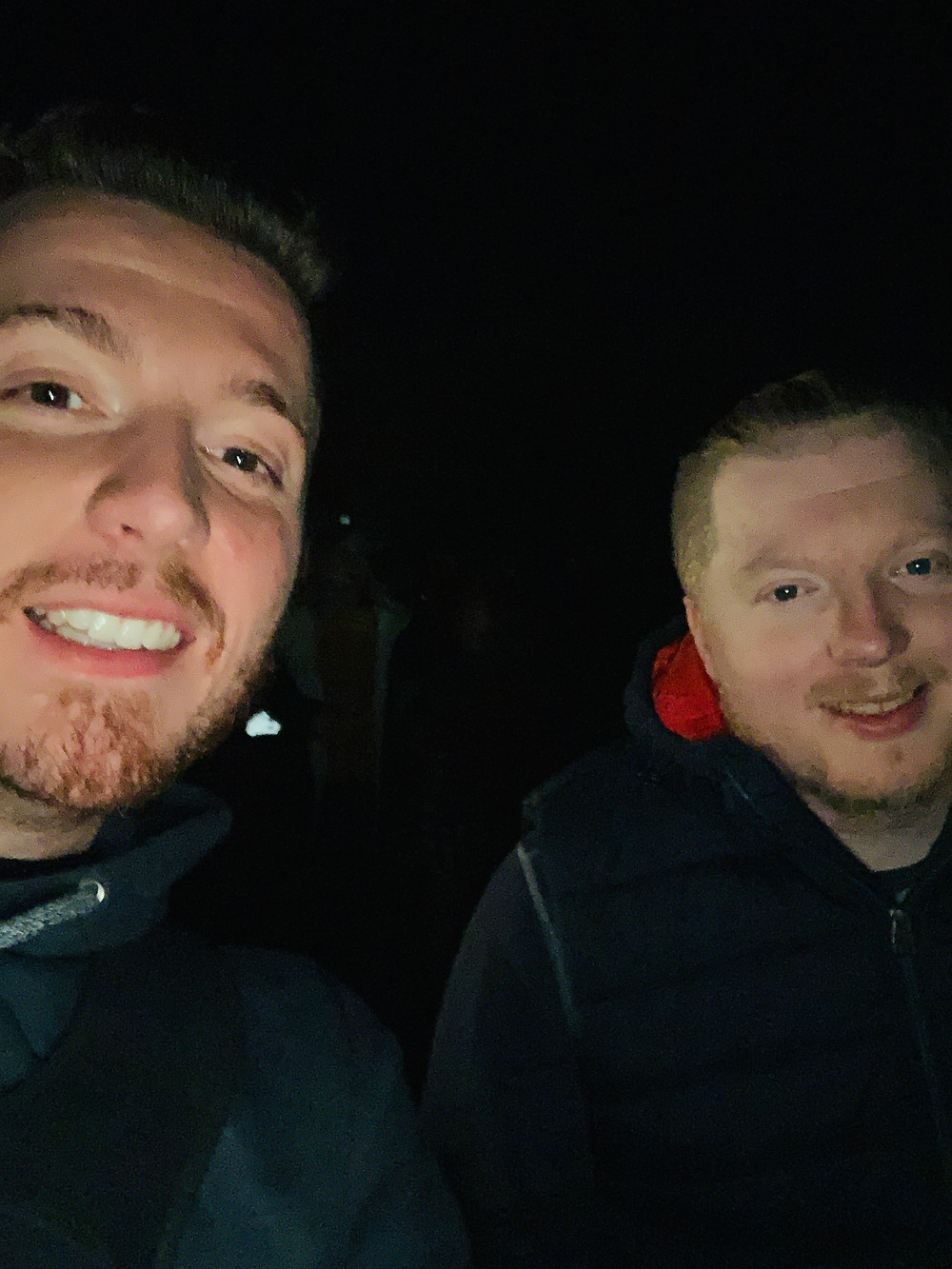 Selfie of Ross and his friend Mark as they wait for the fireworks