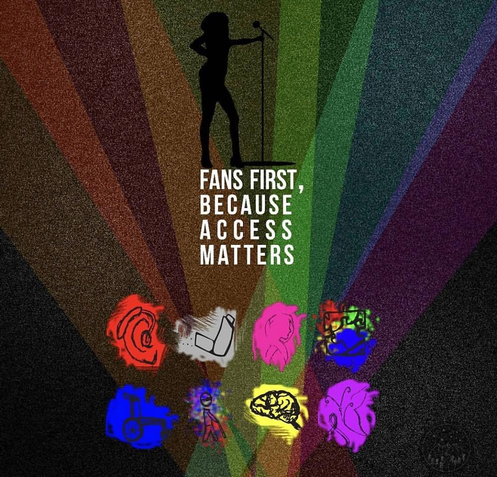 "The Access Matters logo: ""fans first, because access matters"""