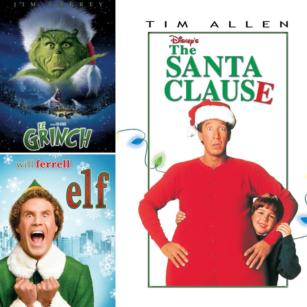 A collage showing the posters of 3 films: Elf, The Grinch and Santa Clause the movie