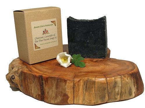 Charcoal and Bentonite Clay Facial Soap (7.5 x 6.5 cm)