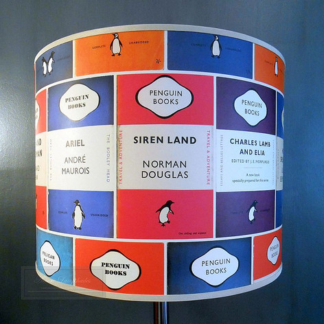 Drum lampshade in Osborne & Little, Penguin Library wallpaper