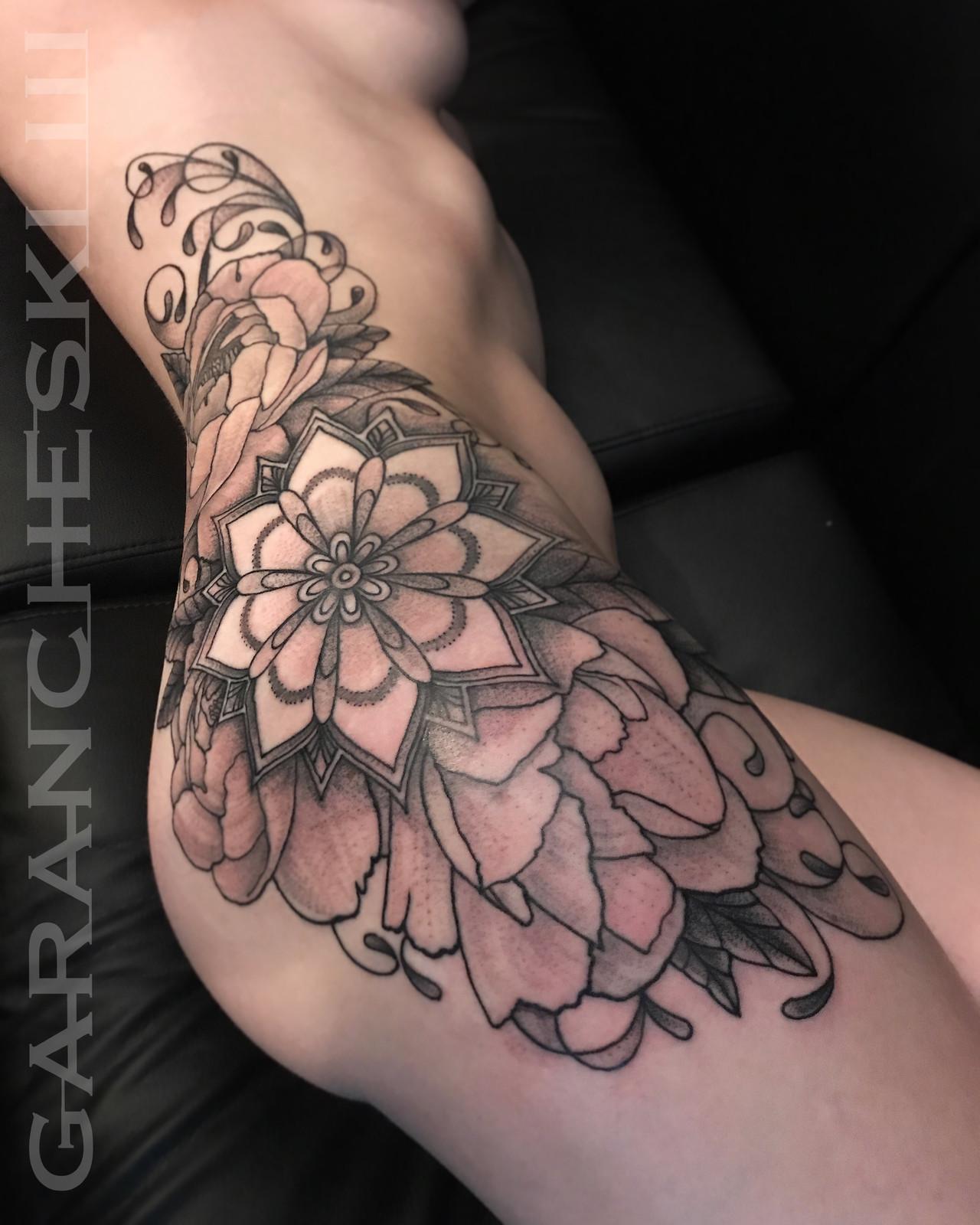 2b92f5032a6f1 Mandala, Peony Flowers, Filigree Tattoo on Side / Hip / Thigh .