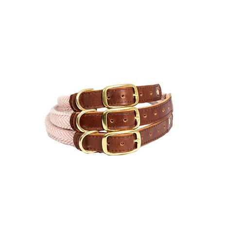 Tweedmill Pink Herringbone Rolled Collar - Small