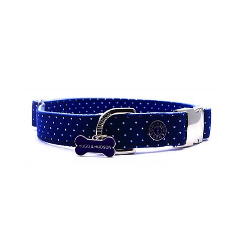 Hugo & Hudson Navy Blue Polka Dot Collar - Medium