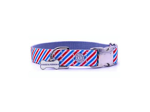 Hugo & Hudson Light Blue, White & Red Stripe Collar - Small