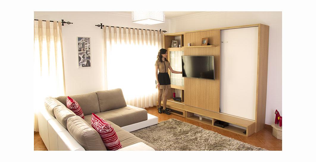 Cama Oculta em Sala 5 - Painel TV