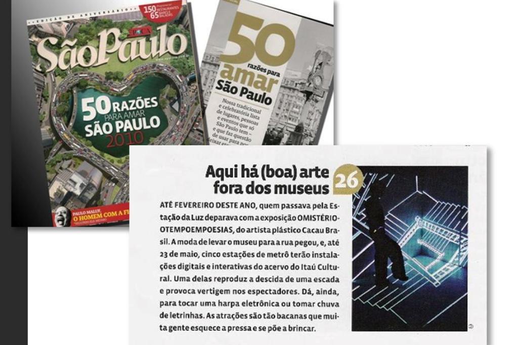 Revista Época - 50 razões para amar São Paulo - Esposição MISTERIOTEMPOEMPOESIAS