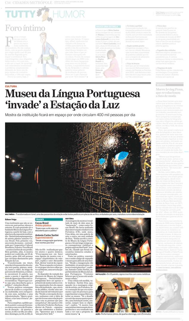 Matéria ´´O Estado de São Paulo``  - Instalação ´´OMISTERIOTEMPOEMPOESIAS``