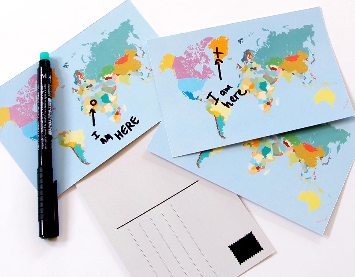World map postcards