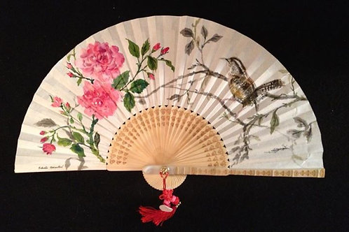 """Hand Painted Fan """"Carolina Wren and Roses"""""""