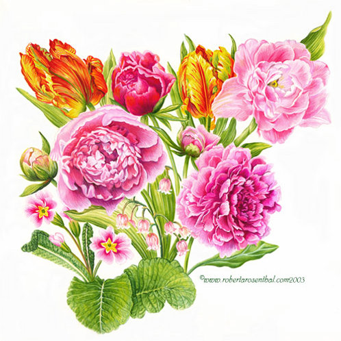 Tulips and Peonies Museum Quality Giclee Print