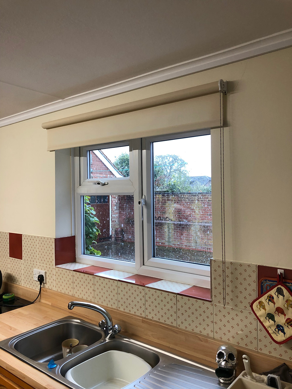 A close up of the right roller blind