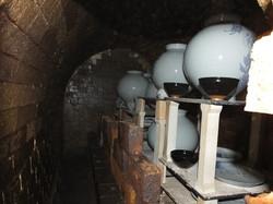 The inside of a kiln