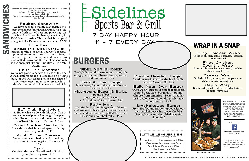Sidelines NEW Menu in progress!