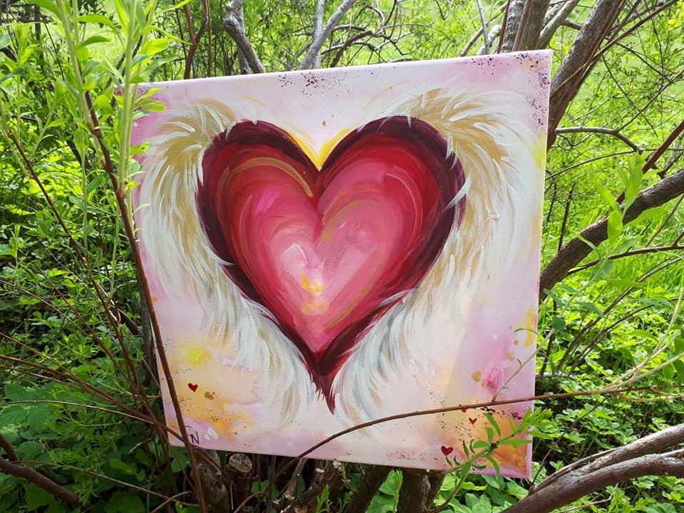 Offenes Herz von den Engel beschützt