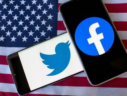 Donald Trump bloqueado nas redes sociais.