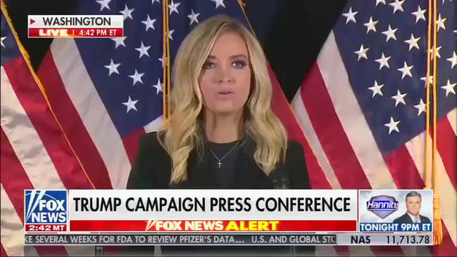 Fox News corta o discurso de Kayleigh McEnany sobre alegações de fraude eleitoral.