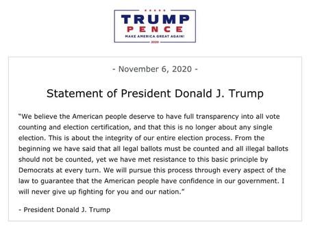 """Eleições americanas: """"Jamais desistirei de lutar por vocês e por nossa nação"""", afirma Trump."""