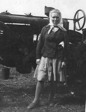 Седогина В.З., учетчица тракторной бригады. Фото 1950 г.